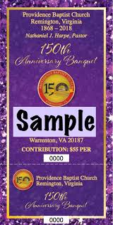 Banquet Tickets Sample Sesquicentennial Celebration Providence Baptist Church Of