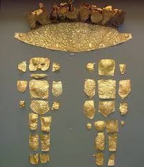 file nama gold diadem with repoussé rosettes and an infant consisting of pieces of
