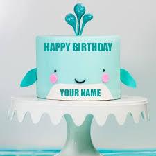 Write Name On Designer Smiling Baby Cake For Birthday