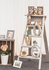 vintage wooden step ladders wedding prop with love sign