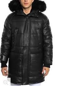 Details About Sean John Removable Faux Fur Trim Hooded Leather Snorkel Jacket Coat Xlrg Xxl