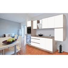 Respekta Küchenzeile GLRP320HESWM Grifflos 320 cm Weiß matt Sonoma