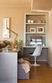 Love the Industrial Style Adjustable Desk lamps used in this Office nook.