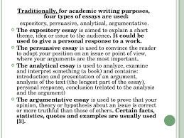 types of academic writing презентация онлайн four types of essays are used expository persuasive analytical argumentative the expository essay is aimed to explain a short
