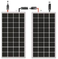 series and parallel let s look at a numerical example say you have 2 x 100 watt solar panels and a 24v battery bank since each panel is 12v and the battery bank you want to