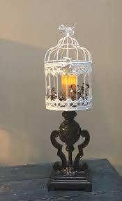 Bird Cage Led Light Candle Holder On Upcycled Lamp Base Bird Cage