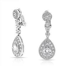 large dangle teardrop cz bridal chandelier clip on earrings