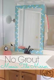 DIY no grout mosaic tile mirror. This is perfect for an apartment or dorm!