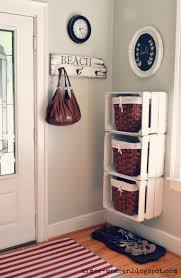 wood crate stacked entryway shelves