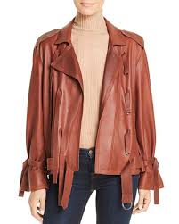 kenneth cole trapunto leather jacket dropped shoulders long sleeves 3130597 ywzvaur