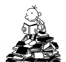 diary of a wimpy kid s greg heffley reading on a pile of books