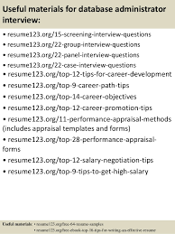 ... 15. Useful materials for database administrator ...