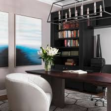 example of a trendy freestanding desk dark wood floor and brown home office design in contemporary h89 design