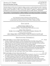 Samples Of Teacher Resume Resume Sample For Physical Education