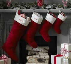 Velvet Stocking - Red with Ivory Cuff | Pottery Barn