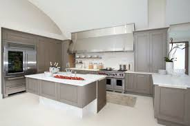 grey kitchen cabinets with white countertops