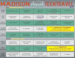 Travel Schedule Oasis In Madison Teen Travel Schedule