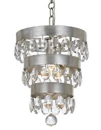 1 light antique silver transitional mini chandelier dd in clear elliptical faceted crystal