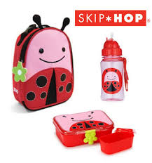 ladybug skip hop zoo insulated lunchie lunch box straw drink bottle set