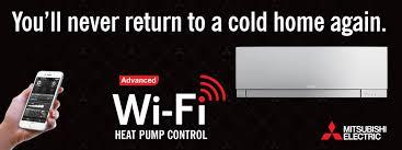 mitsubishi electric cooling and heating logo. find out more mitsubishi electric cooling and heating logo