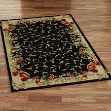 rooster and fruit border hooked tuscan design kitchen area rugs