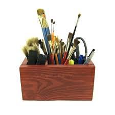 rustic wooden box office desk organizer paint brush silverware kitchen utensil craft supply storage pen and rustic wooden box