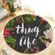 non slip thug life series printed round area rug doormat home art floor mat