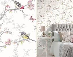 Holden Decor Wit Kleurrijke Multi Color Vogels Bomen Bloemen Vlinder