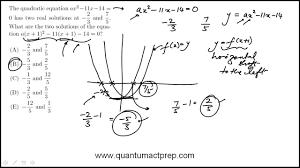 act math practice question modified quadratic equation