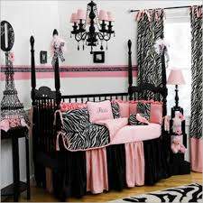 baby nursery endearing pink black and white room decoration using zebra bedding set including valance chandeliers attractive images furniture sets of
