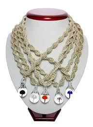 official spring 2 pieces assorted color glass mushroom pendant on twisted hemp 18 inch necklace 21465