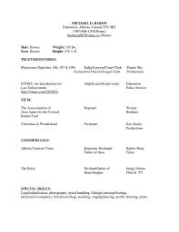 Acting Resume Beginner Sample Beginner Acting Resume