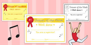 Dance Award Certificate Dancer Of The Week Certificate Dancer Week Certificate