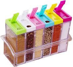 Skyzone 6pcs Set Kitchen Spice Storage Bottle Jars Transparent Pp