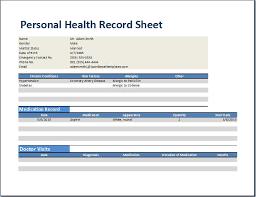 Medical Records Template Personal Medical Record Form Rome Fontanacountryinn Com