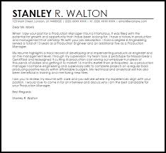 Production Manager Cover Letter Sample
