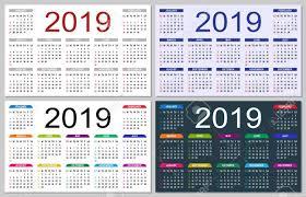 Basic Calendars Set Of Colorful Calendars 2019 The Week Starts On Sunday Basic