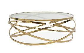 orbit round glass coffee table in clear