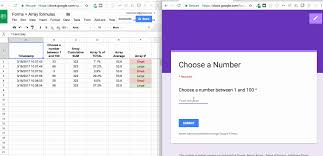 how to use array formulas to fill the entire column when working with google forms