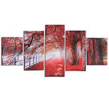1 x 5 cascade autumn red tree abstract canvas wall painting 30x40cm x 2pcs 30x60cm x 2pcs 30x80cm x 1pc