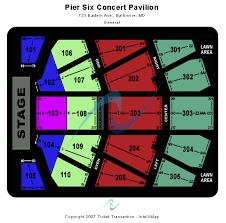 Pier Six Concert Pavilion Seating Chart Elcho Table