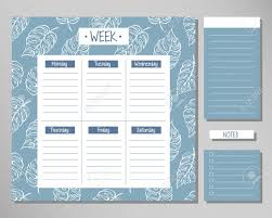 Design Schedule Template Weekly Planner With Blue Leaf Elements Schedule Design Template