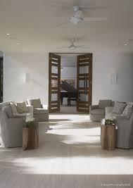 patio with custom modern walnut doors
