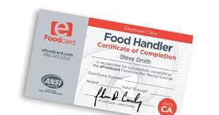 food handlers cards certificates