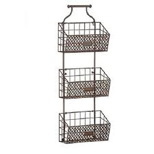 Best Rustic Antiqued Finish Metal Steel Wire Hanging 3 Basket Wall In  Hanging Wire Storage Baskets Designs ...