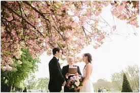 wedding under cherry blossoms at notre dame paris