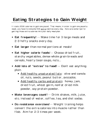 A Diet Chart For Gaining Weight Weight Gain Diet Template Free Download