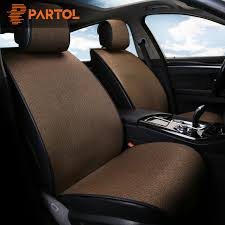 partol universal car seat cover pad breathable flax automobile seat covers auto seat cushion protector front