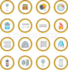 heating cooling icon. heating cooling icons circle icon