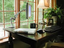 charming white office design. Fashionable Home Office Design With Wide Glass Windows Front Wooden Desk And Lamp Stand The Charming White